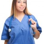 Nurse with stethoscope — Stock Photo