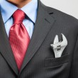 Adjustable wrench in his pocket — Stock Photo