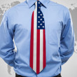 Businessman with USA necktie — Stock Photo