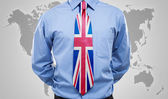 Businessman with UK necktie — Stock Photo