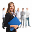 Businesswoman holding a clipboard — Stock Photo