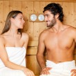 Stock Photo: Couple having steam bath in sauna