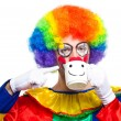 Clown with smiley cup — Stock Photo