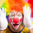 Clown making a funny face — Stockfoto