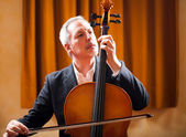 Man playing a cello — Stock Photo