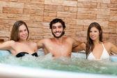 Friends in sauna — Stock Photo