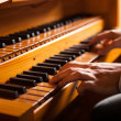 Mplaying church organ — Stock Photo #36981743