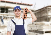 Bricklayer portrait — Stock Photo