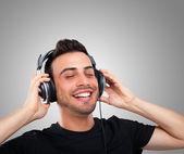 Man listening music — Stock Photo