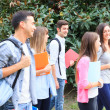 Students walking outdoor — Stock Photo