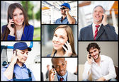 People talking on the phone — Stock Photo