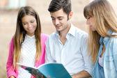 Studenter som läser en bok — Stockfoto