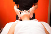 Woman having head massage — Stock Photo