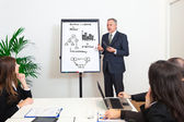 Businessman explaining business concepts — Stock Photo