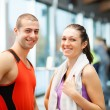 Couple in a fitness club — Stock Photo