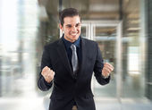 Very happy businessman — Stock Photo