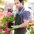 Stock Photo: Mholding flower pot