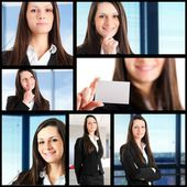 Collection of portraits of businesswoman — Stock Photo