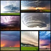 Thunderstorm in American Plains collage — Stock Photo