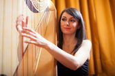 Woman playing an harp — Stock Photo