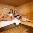 Girls in a sauna — Stockfoto