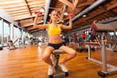 Donna fare fitness stand con manubri — Foto Stock