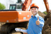 Engineer in a construction site — Stock Photo