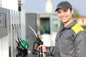 Gas station attendant at work — Stock Photo