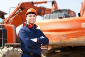 Arbetare i en byggarbetsplats — Stockfoto