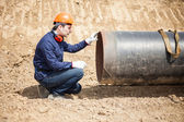 Man in a construction site — Stock Photo