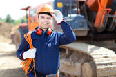 Worker in a construction site — Stock Photo