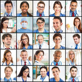 Smiling doctors faces — Stock Photo