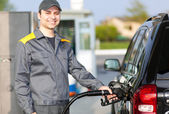 Gas station assistant — Stock Photo
