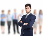 Man in front of a group of people — Stock Photo