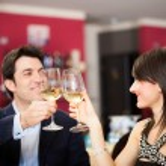 Couple drinking wine in restaurant — Stock Photo #50349007