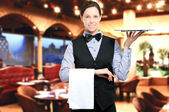 Beautiful waitress portrait — Stock Photo