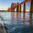 The Forth Road Bridge at sunset - Stok fotoraf