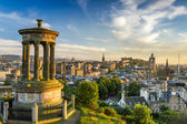 View of the castle from Calton Hill at sunset — Stock Photo