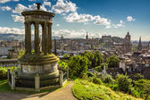 View of the castle from Calton Hill in sunny day — Stock Photo