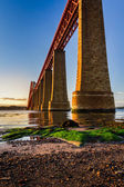 River over Forth Road Bridge at sunset — Stock Photo