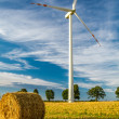 Windmill on the field as a symbol of green energy — Stock Photo