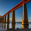 Steel railway bridge over the river in Scotland — Stock Photo