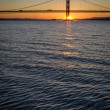 Stock Photo: Sunset over Forth Road Bridge in Edinburgh