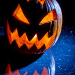 Pumpkin with candle lighted for halloween — Stock Photo