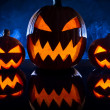 Three pumpkins for Halloween celebration - Foto Stock