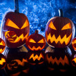 Smoking group Halloween pumpkins - Foto de Stock