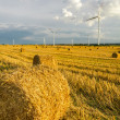 Windmill on the field with stubble - Stock Photo