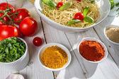 Fresh vegetables and Italian cuisine — Stock Photo