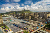 View to train station in Edinburgh from Monument of Scott — Stock Photo