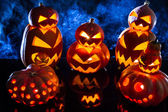 Groups of strange pumpkins for Halloween — Стоковое фото